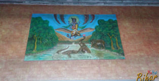 Some beautiful cement painting at Hajipur Junction